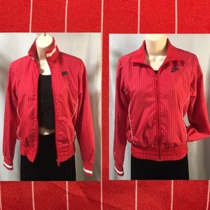 Nike red/white pin stripe lightweight jacket